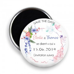 Magnet save the date, Magnet PERSONNALISABLE 44mm, Annonce Mariage @1