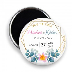 Magnet save the date, Magnet PERSONNALISABLE 44mm, Annonce Mariage @6