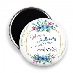 Magnet save the date, Magnet PERSONNALISABLE 44mm, Annonce Mariage @8