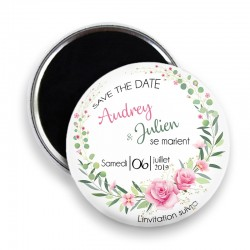 Magnet save the date, Magnet PERSONNALISABLE 44mm, Annonce Mariage @10