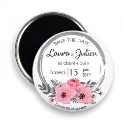 Magnet save the date, Magnet PERSONNALISABLE 44mm, Annonce Mariage @12