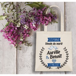 Grand tote bag, mariage,  EVJF, témoin,  sac personnalisable