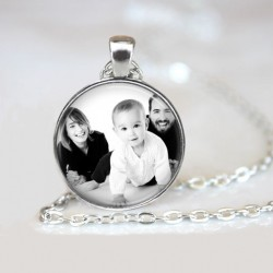 Médaillon famille, Collier photo, Couple, enfants, parent